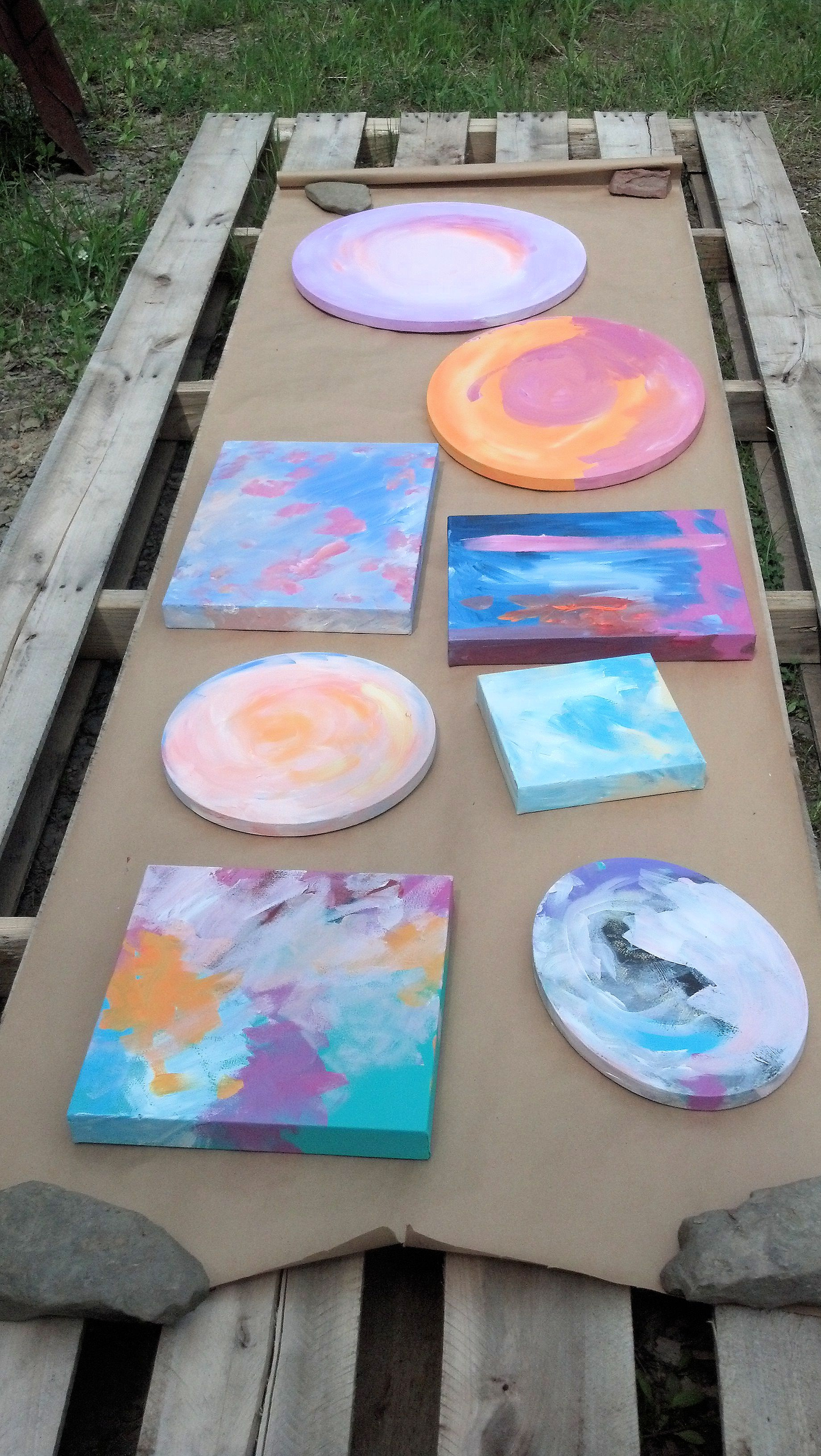Canvases drying outdoors